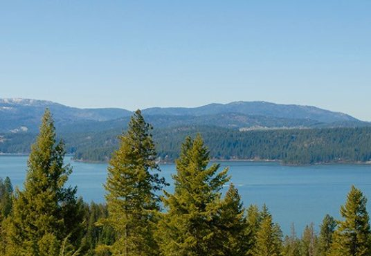 Spectacular View from Gotham Bay forest and river in the Lake Coeur d'Alene Idaho