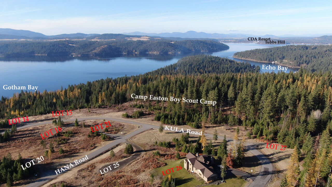 Spectacular View from Gotham Bay map in Lake Coeur d'Alene Idaho